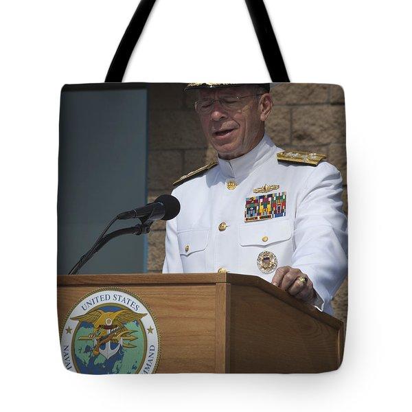 Admiral Mike Mullen Speaks Tote Bag by Michael Wood