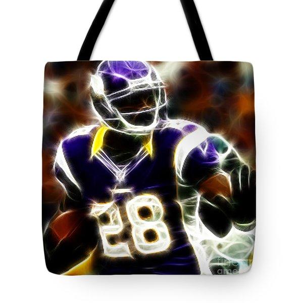 Adrian Peterson 02 - Football - Fantasy Tote Bag by Paul Ward