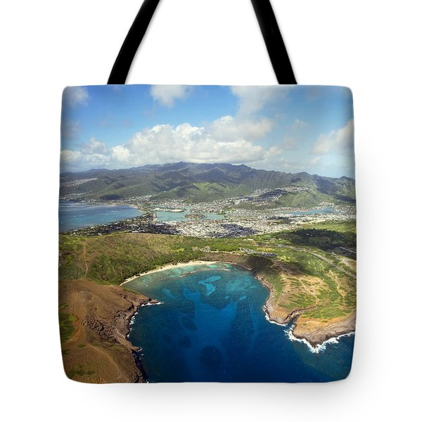 Aerial Of Hanauma Bay Tote Bag by Ron Dahlquist - Printscapes