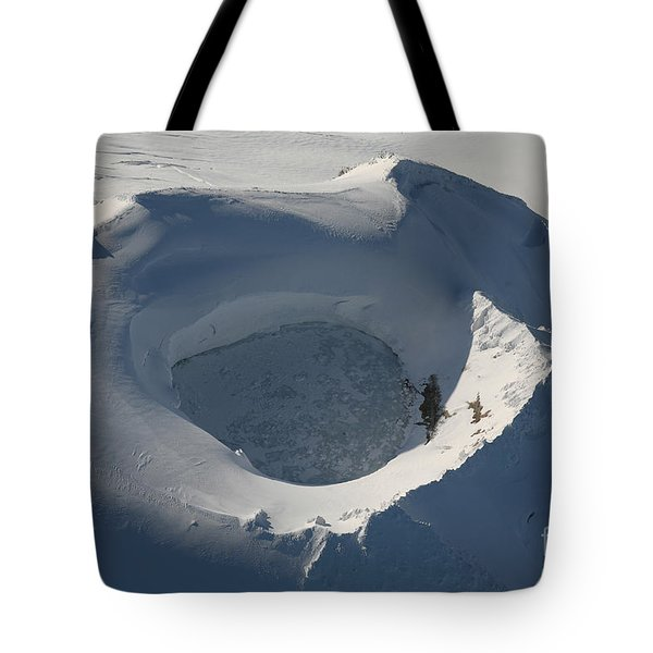 Aerial View Of Frozen Lake In Summit Tote Bag by Richard Roscoe