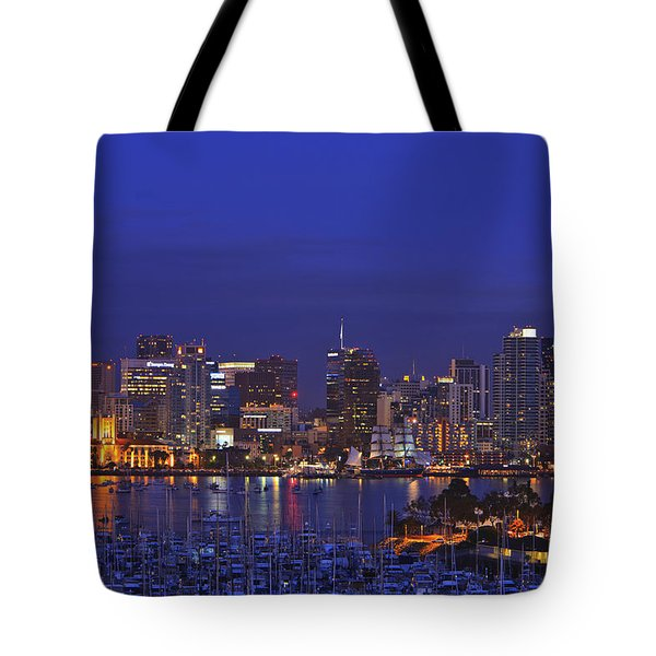 Aerial View Of San Diego Skyline With Tote Bag by Stuart Westmorland