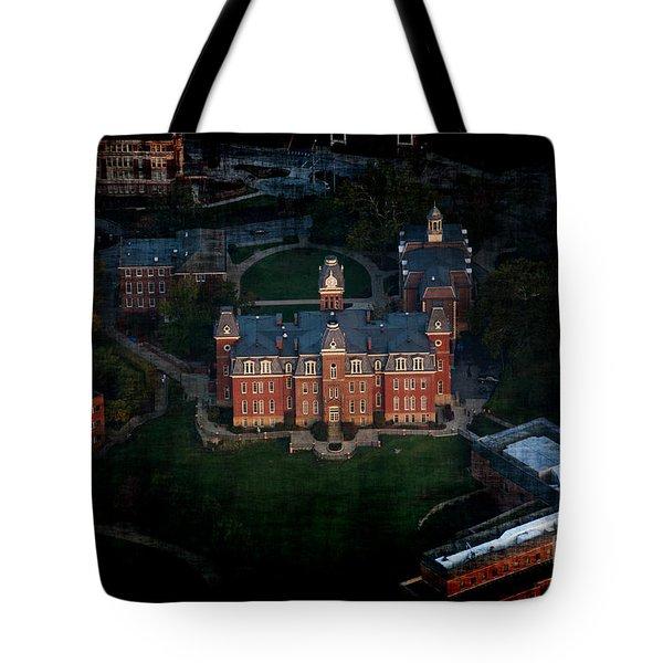 Aerial Woodburn Hall In Evening Tote Bag by Dan Friend