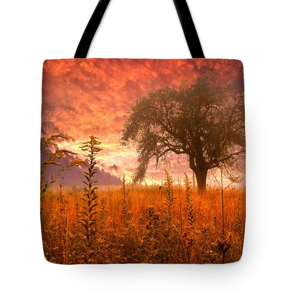 Aflame Tote Bag by Debra and Dave Vanderlaan
