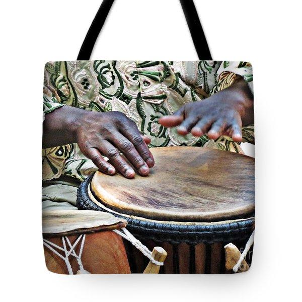African Drum Rhythm Tote Bag by Darleen Stry