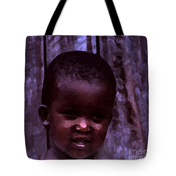 Tote Bag featuring the pyrography African Little Girl by Lydia Holly