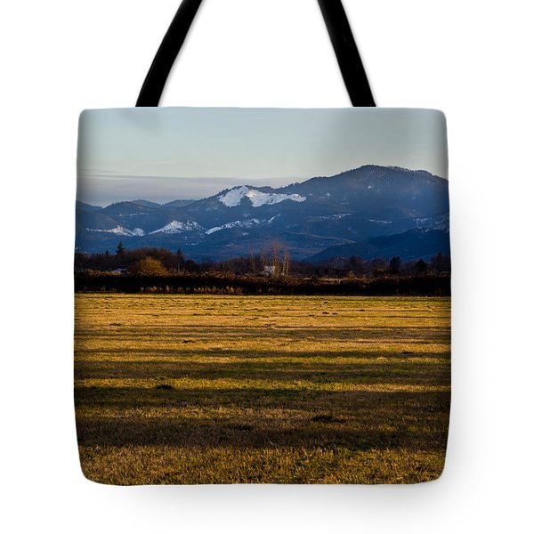 Afternoon Shadows Across A Rogue Valley Farm Tote Bag by Mick Anderson