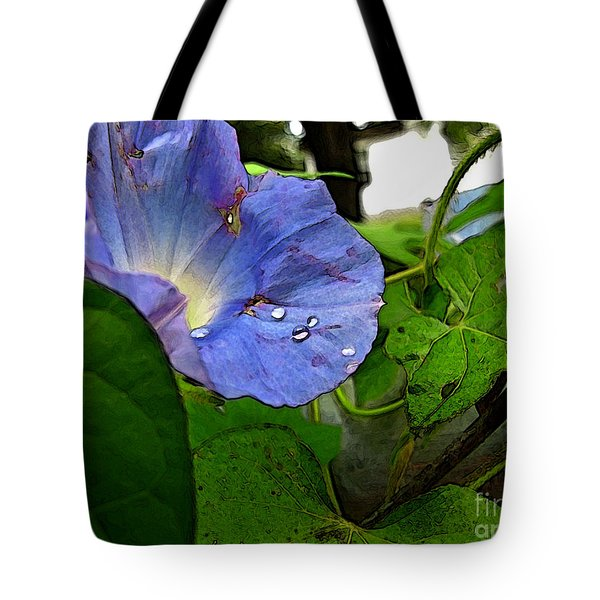 Tote Bag featuring the digital art Aging Morning Glory by Debbie Portwood