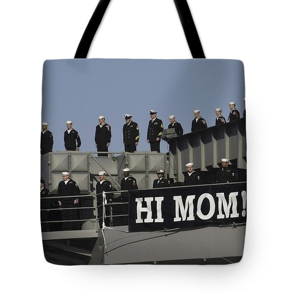 Ailors And Marines Man The Rails Aboard Tote Bag by Stocktrek Images
