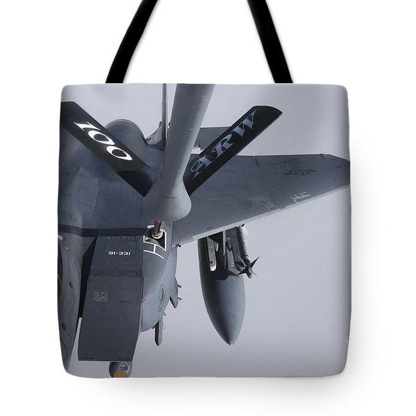 Air Refueling A F-15e Strike Eagle Tote Bag by Daniel Karlsson