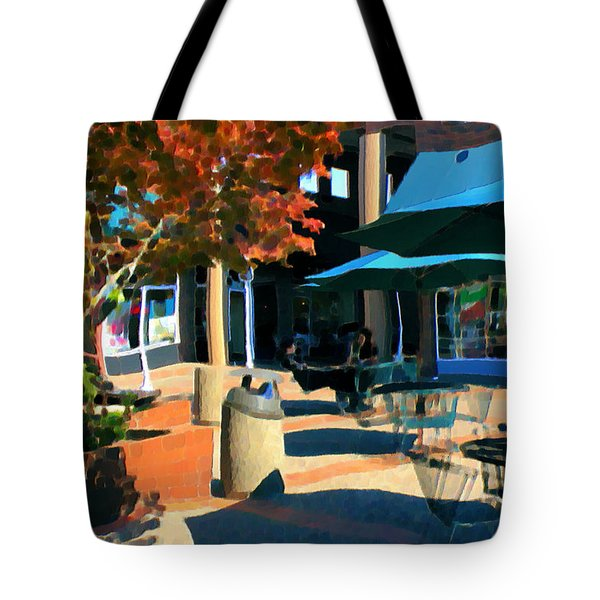 Tote Bag featuring the mixed media Alice's Wonderland Cafe by Terence Morrissey