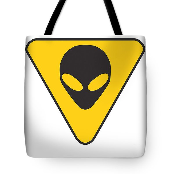 Alien Grey Hazard Graphic Tote Bag by Pixel Chimp