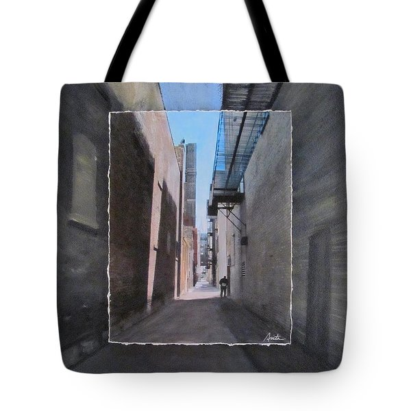 Alley With Guy Reading Layered Tote Bag by Anita Burgermeister