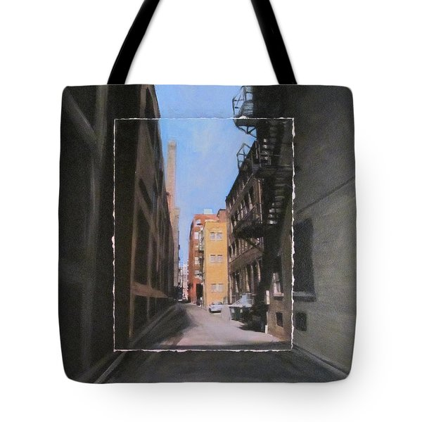 Alley With Red And Tan Buildings Layered Tote Bag by Anita Burgermeister