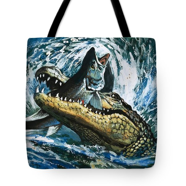 Alligator Eating Fish Tote Bag by English School
