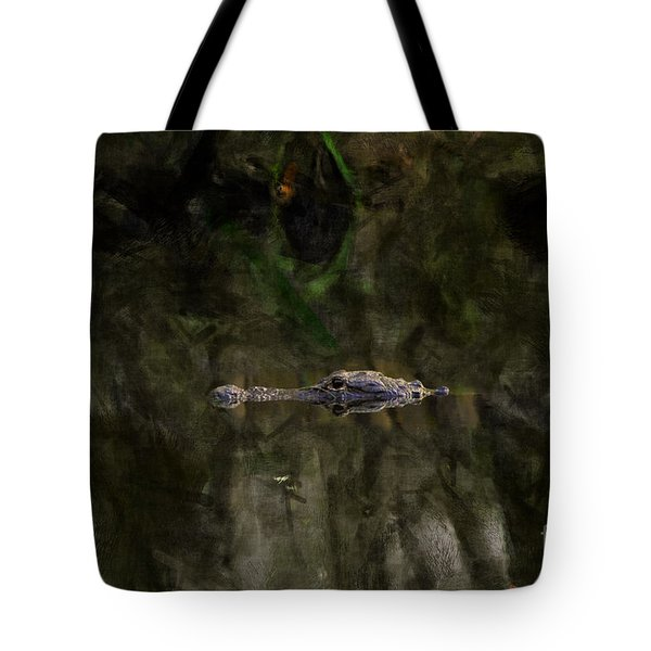 Tote Bag featuring the photograph Alligator In Swamp by Dan Friend