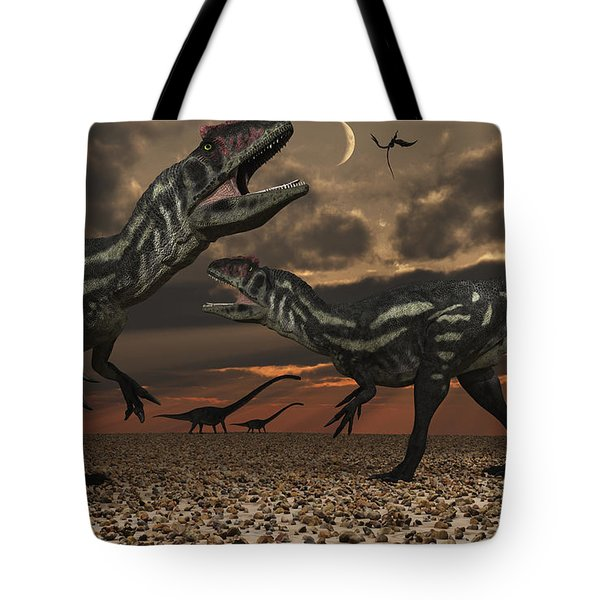 Allosaurus Dinosaurs Stalk Their Next Tote Bag by Mark Stevenson