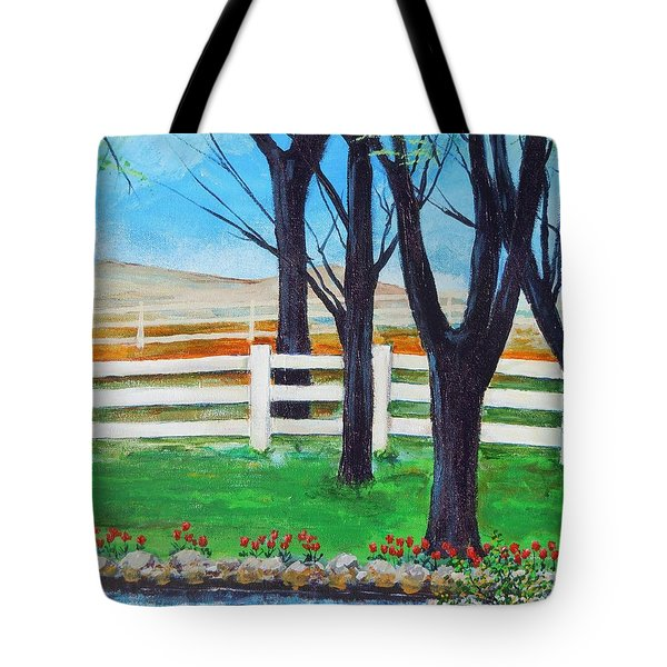 Tote Bag featuring the painting Along The Lane by Dan Whittemore