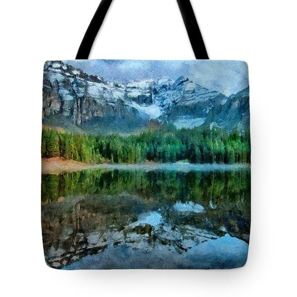 Tote Bag featuring the painting Alta Lakes Reflection by Jeffrey Kolker