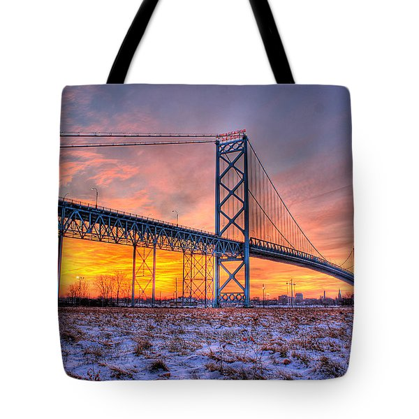 Ambassador Bridge Sunrise 1-16-2012  Detroit Mi Tote Bag