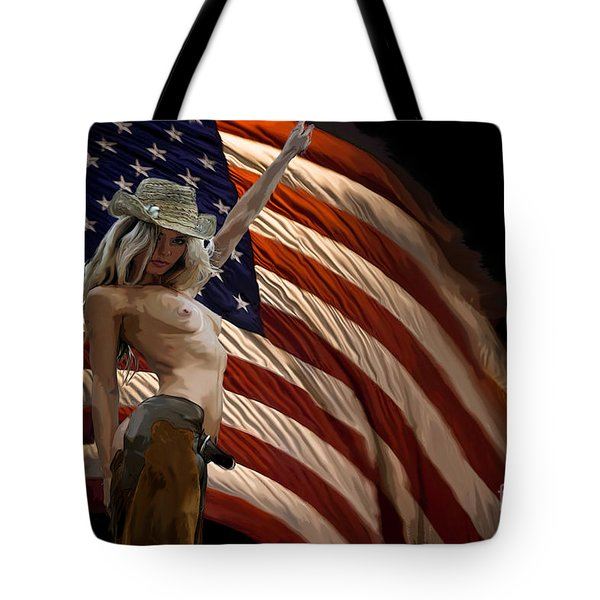 American Cowgirl Tote Bag by Tbone Oliver