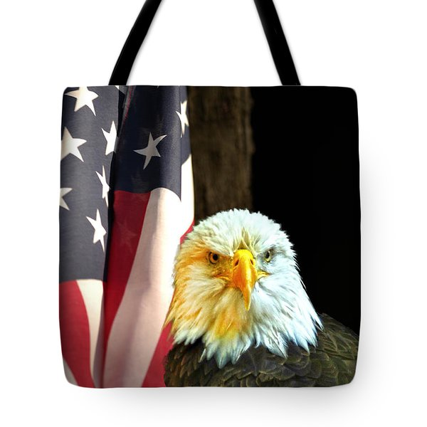 Tote Bag featuring the photograph American Eagle And American Flag by Randall Branham