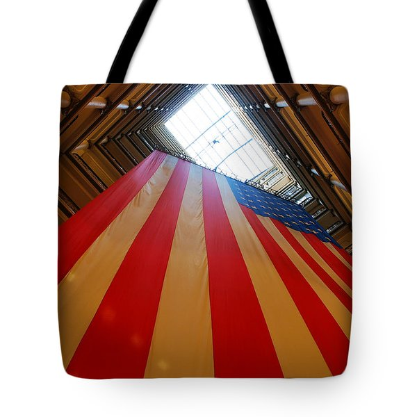American Flag In Marshall Field's Tote Bag by Paul Ge