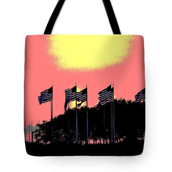 Tote Bag featuring the photograph American Flags1 by Zawhaus Photography