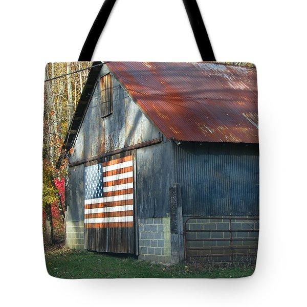 Tote Bag featuring the photograph Americana Barn by Clara Sue Beym