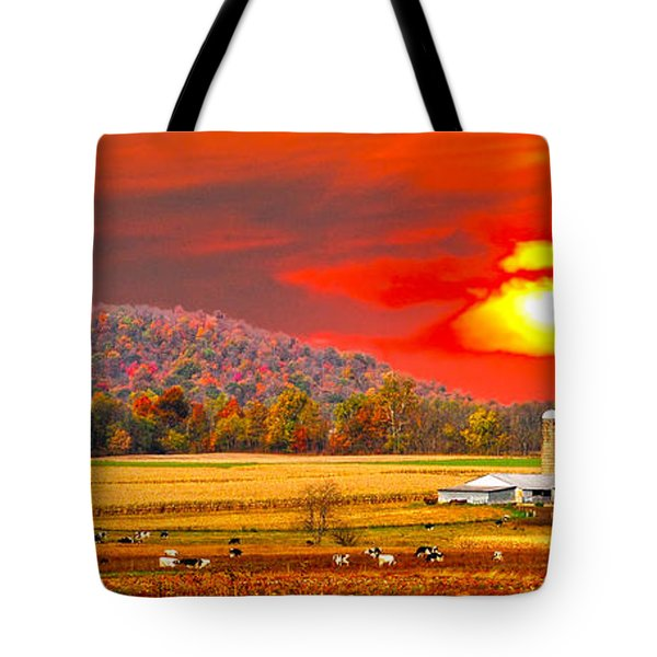 Amish Farm Sundown Tote Bag by Randall Branham