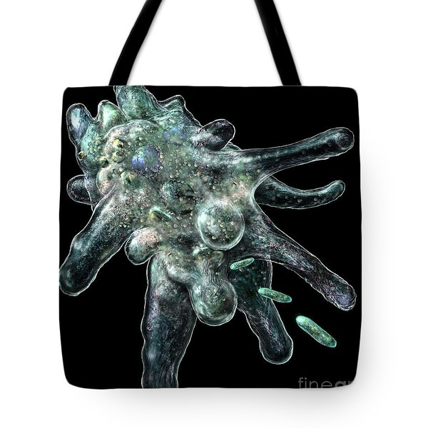 Tote Bag featuring the digital art Amoeba Black by Russell Kightley