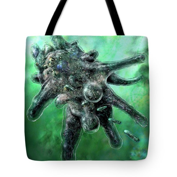 Tote Bag featuring the digital art Amoeba Green by Russell Kightley