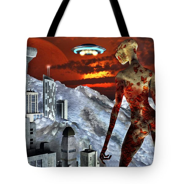 An Alien Being Overlooks Its Base Built Tote Bag by Mark Stevenson