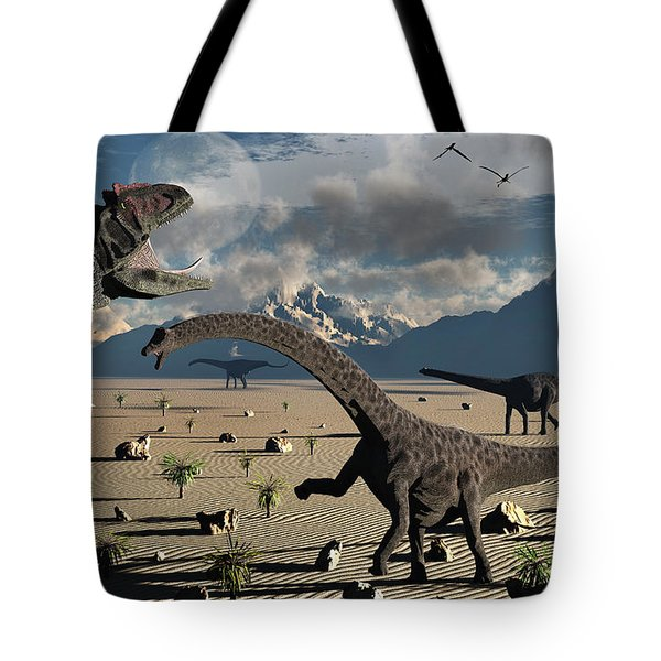 An Allosaurus Confronts A Small Group Tote Bag by Mark Stevenson