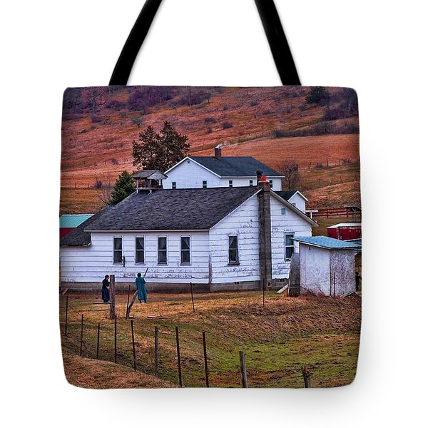 An Amish Farm Tote Bag by Tommy Anderson