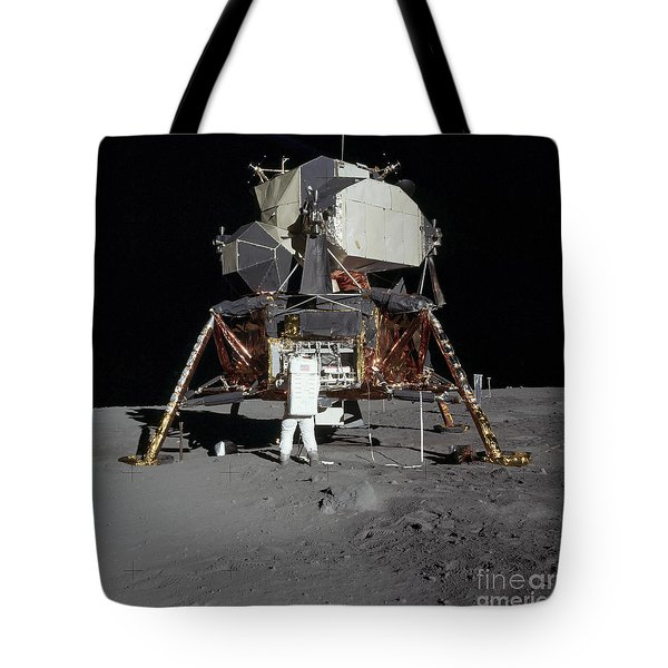 An Apollo 11 Astronaut In Front Tote Bag by Stocktrek Images