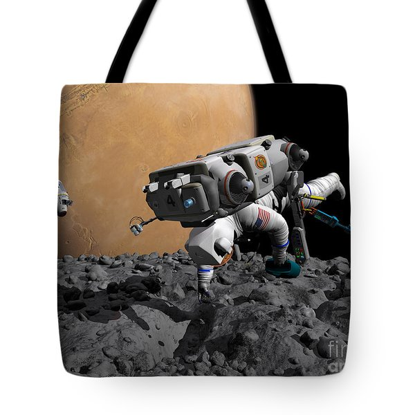 An Astronaut Makes First Human Contact Tote Bag by Walter Myers