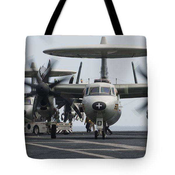 An E-2c Hawkeye Aircraft On The Flight Tote Bag by Stocktrek Images