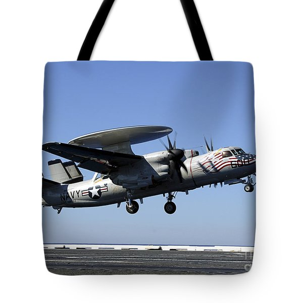 An E-2c Hawkeye Conducts A Touch-and-go Tote Bag by Stocktrek Images