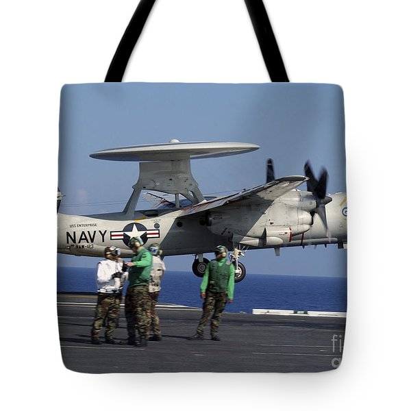 An  E-2c Hawkeye Launches From Aboard Tote Bag by Stocktrek Images