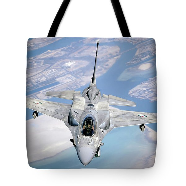 An Emirati F-16 Conducts A Training Tote Bag by Stocktrek Images