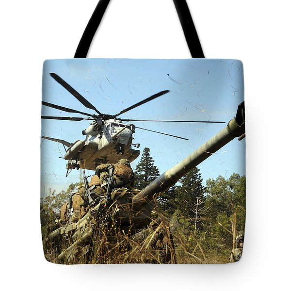 An Mh-53e Sea Stallion Helicopter Tote Bag by Stocktrek Images