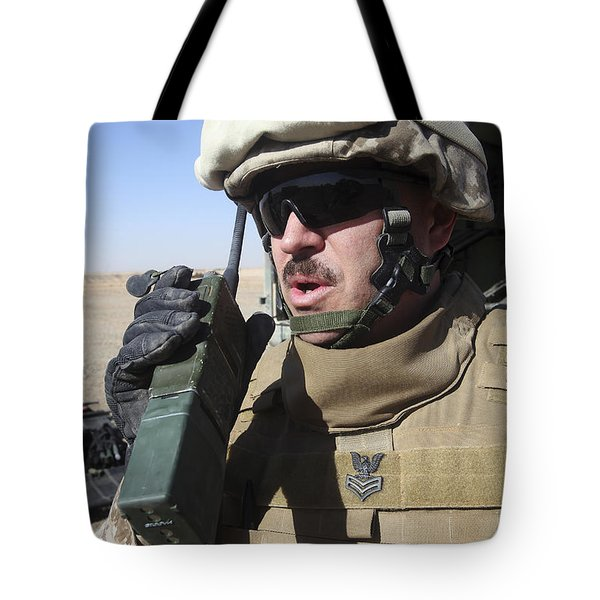 An Officer Relays Commands Tote Bag by Stocktrek Images