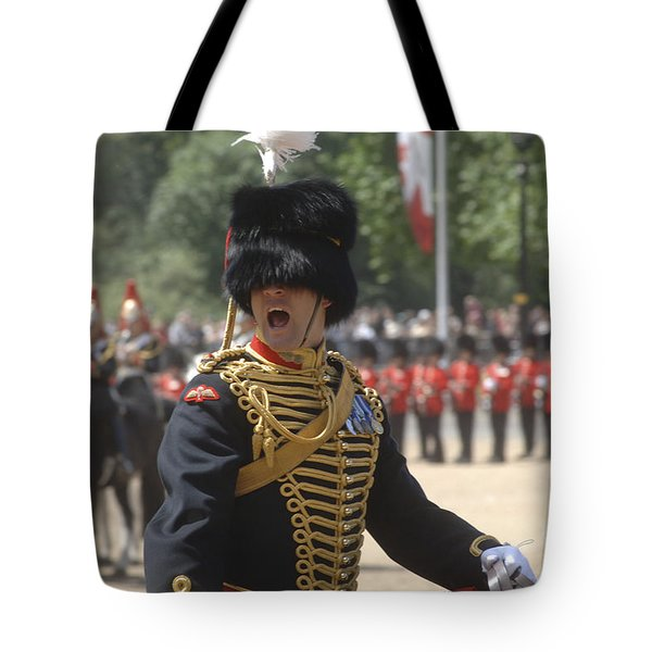 An Officer Shouts Commands Tote Bag by Andrew Chittock