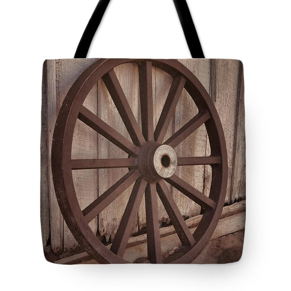 An Old Wagon Wheel Tote Bag