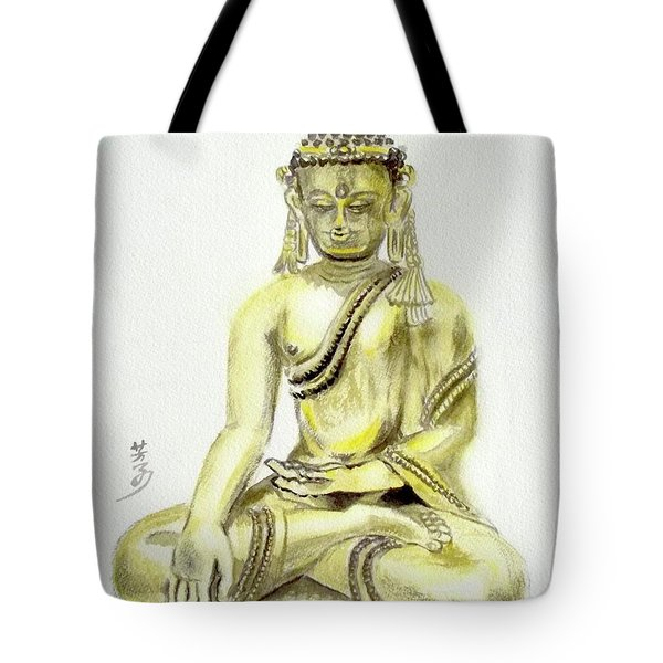 Tote Bag featuring the painting An Orient Statue At Toledo Art Museum - Ohio-3 by Yoshiko Mishina