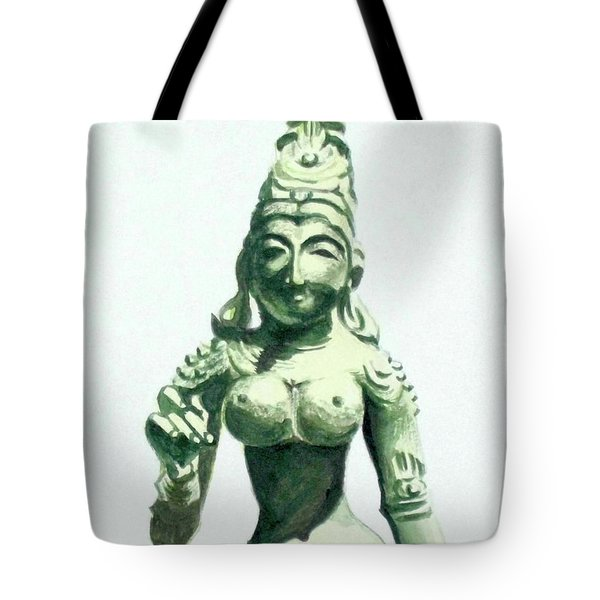 Tote Bag featuring the painting An Oriental Statue At The Toledo Museum Of Art-4 by Yoshiko Mishina