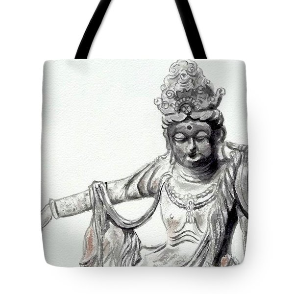 Tote Bag featuring the painting An Oriental Statue At Toledo Art Museum - Ohio- 2 by Yoshiko Mishina