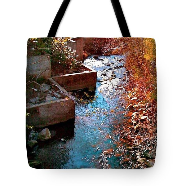 And A River Runs Through It - Red Hue Tote Bag