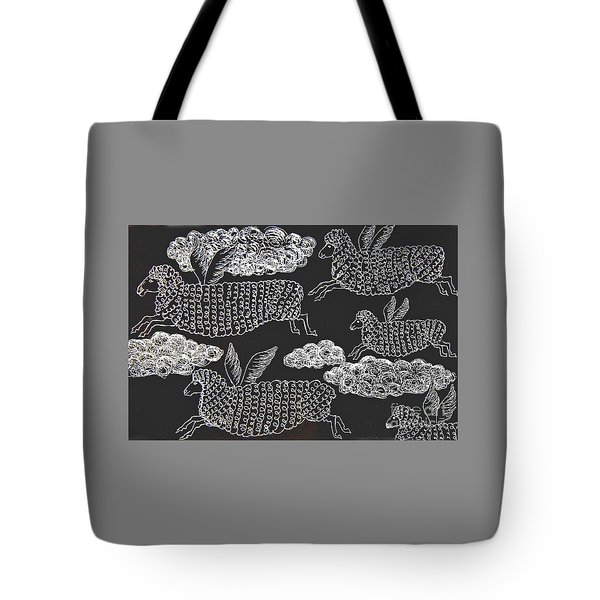 Tote Bag featuring the drawing And Sheep Can Fly by Nareeta Martin