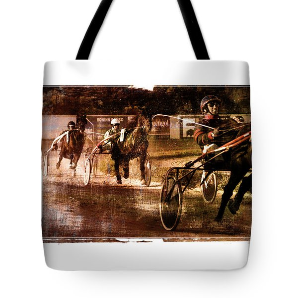 Tote Bag featuring the photograph and the winner is - A vintage processed Menorca trotting race by Pedro Cardona
